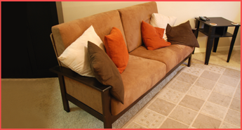 Brown Sofa With Pillow Decorations